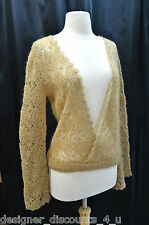 Famous catalog cross V neck  loose open crochet Top Sexy chic sweater size M new