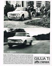 PUBLICITE ADVERTISING 014   1963   ALFA ROMEO    GUILIA TI