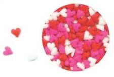 Edible Confetti Sprinkles Cupcake Valentine Red Pink White MINI HEARTS 4 oz.