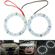2x 60mm 1210/3528 SMD 15 LED Angel Eyes Halo Anneaux Phare Feux Voiture Blanc