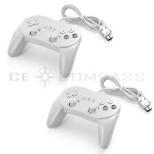 2PCS Classic Pro Controllers Wired Gamepad for Nintendo Wii Game Remote White