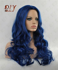 "Blue Fluffy Stylish 24"" Long Curly Wig Cosplay Heat Resistant Full Hair Wigs"