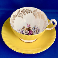 Aynsley Wide Cup Saucer Yellow Floral Gold Filigree Fluted Footed Vtg