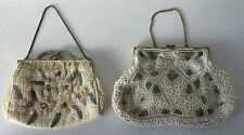 2 Antique Glass Seed Beaded PURSE Handbag Vintage Floral Geometric AsFound