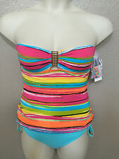 NWT Anne Cole Women's Striped Bandeau Tankini/Side Tie Hipster Bottoms Sizes S/M