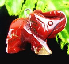 Beautiful unique natural Red Jasper carved Elephant pendant bead BC4355