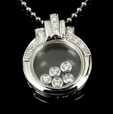 CLASSIC Sterling Silver Cubiz Zirconia Glass Pendant Necklace 5CZ Move Inside
