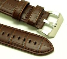 26mm Replacement Brown Leather Watch Band Croco Brushed Buckle Invicta 26mm