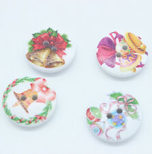 30pc Mixed Wood Sewing Buttons 2 Holes Christmas bell Round White 20mm Dia.