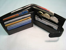 Real Soft Leather Wallet Bifold with button Closer Cards and id Space