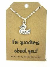 """""""I'm Quackers About You"""" Rubber Duck Silver Charm 18"""" Message Card Necklace New"""