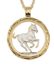 "Horse Pendant & Necklace, Hand Cut Year Of The Horse Coin 1-1/8"" diam. ( # 716 )"
