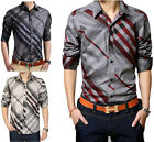 ZC6205 New Fashion Mens Luxury Striped Casual Slim Fit Stylish Dress Shirts