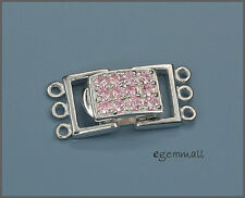 Sterling Silver 3 Strand Rectangle Push Clasp with CZ Pink #51137