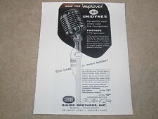 Shure Unidyne 555, 556s Broadcast, 1 page, 1957, Article, Info, RARE!