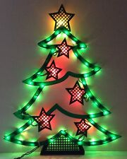 CHRISTMAS TREE Gold Star SILHOUETTE Lighted Window Decoration Indoor / Outdoor
