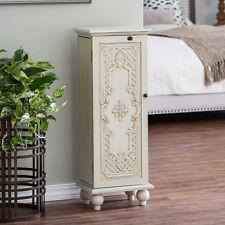 Locking Jewelry Armoire Box Cabinet Ornate Door Mirror Storage Organizer Antique