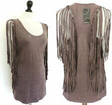 FUNKY Sexy TIGHT Bodycon TASSEL MICRO MINI DRESS/TUNIC TOP Hippie ROCK 10-12 NWT
