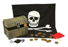 Melissa & Doug Piratenkiste mit Geheimfach aus Holz Pirat Zubehör Schatzkiste