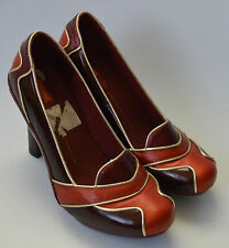 Ladies J Shoes Burgundy Red & Orange Vintage Style Leather Shoes Size UK 7