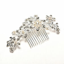 Crystal Rhinestone Wedding Flower Pearls Hair Clip Hair Comb For Women Bride FG