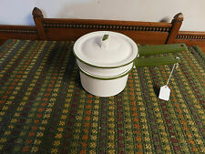 Vintage Green & White Enamelware Double Boiler Set