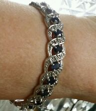 NEW HUGE 14K WHITE GOLD DEEP BLUE SAPPHIRE WHITE TOPAZ 13 CARAT BANGLE BRACELET