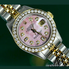 Woman's Rolex 26mm Datejust 2 Tone Pink Mother Of Pearl Dial with 8+2 Diamond