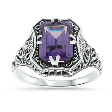 COLOR CHANGING LAB ALEXANDRITE .925 SILVER ANTIQUE STYLE RING SIZE 8,     #19