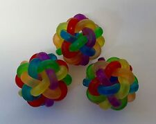 Bird Toy Part,Rainbow,Ball, Parrot, Rubber, Colorful,Macaw,Large,Foot Toy,3X Lot