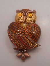 Signed JOAN RIVERS Stunning Rhinestone OWL Brooch pin-1