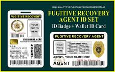 Fugitive Recovery Agent ID Set (ID Badge + Wallet ID)  CUSTOMIZABLE  PVC Plastic