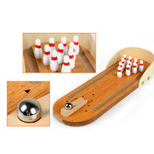 Mini Desktop Bowling Game Set Wooden Bowling Alley Ten Metal Pin Ball Gift Toy