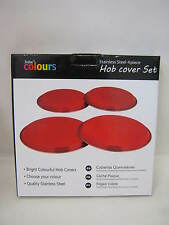 New Zodiac Stainless Steel Hob Covers Electric Gas Hobs Cover Set 4 Piece Red
