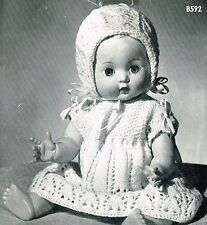 "Dolls clothes knitting pattern.14"" doll.  Laminated copy. (V Doll 57)"