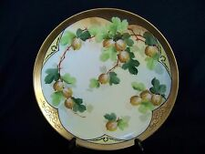"""PICKARD HAVILAND PLATE Hand Painted Gooseberries 8 3/4"""" Signed FW"""