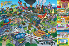 "THE SIMPSONS - TV SHOW POSTER / PRINT (SPRINGFIELD LOCATIONS) (36"" x 24"")"