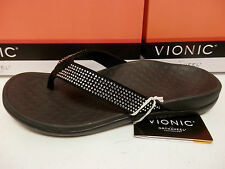 VIONIC W/ ORTHAHEEL TECHNOLOGY WOMENS SANDALS TIDE RHINESTONES BLACK SIZE 8