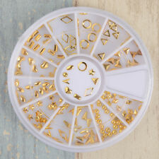 1 Box 3D Nail Art Gold Circle Triangle Diamond Shape Design Charms DIY Manicure
