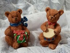 2 Merry Christmas Bears Ornaments/ Figurines For Your Holidays