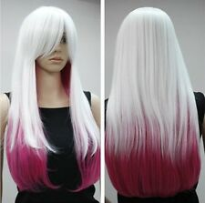 Cos Harajuku white and rose red mix long straight cosplay wig + gift  AE203