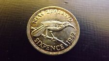 NEW ZEALAND SIXPENCE 1942 UNC OR BETTER RAREST MINTAGE IS 360000