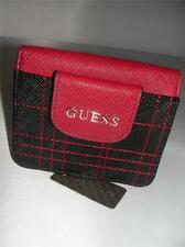 NEW GUESS LADIES CLUTCH WALLET SHARON  BLACK /WINE COLOR