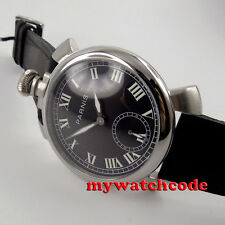 48mm parnis black dial luminous marks 6497 movement hand winding mens watch