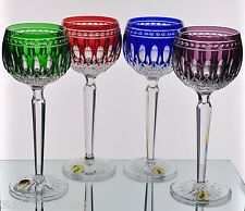 Waterford Clarendon Cased Crystal Wine Goblets Emerald Ruby Cobalt Amethyst New