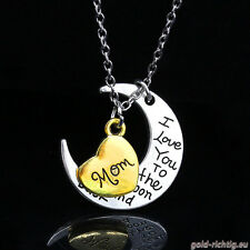 Mond+Herz Halskette: I love you (Ich liebe dich Mama Kette) Valentinstag 14.02.