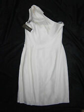 JENNY YOO SIZE 8 SILK WEDDING GOWN DRESS SHORT ONE SHOULDER OFF WHITE