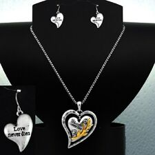 Love Never Dies Hearts Wedding Inspirational Two-Tone Necklace Earrings #442-B
