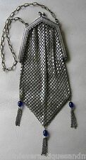 Antique Silver T Cobalt Blue Jewel Clasp & Fringe Chain Mail Mesh Flapper Purse