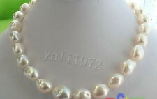 """HUGE 12-15MM WHITE BAROQUE FRESHWATER PEARL NECKLACE 18"""""""